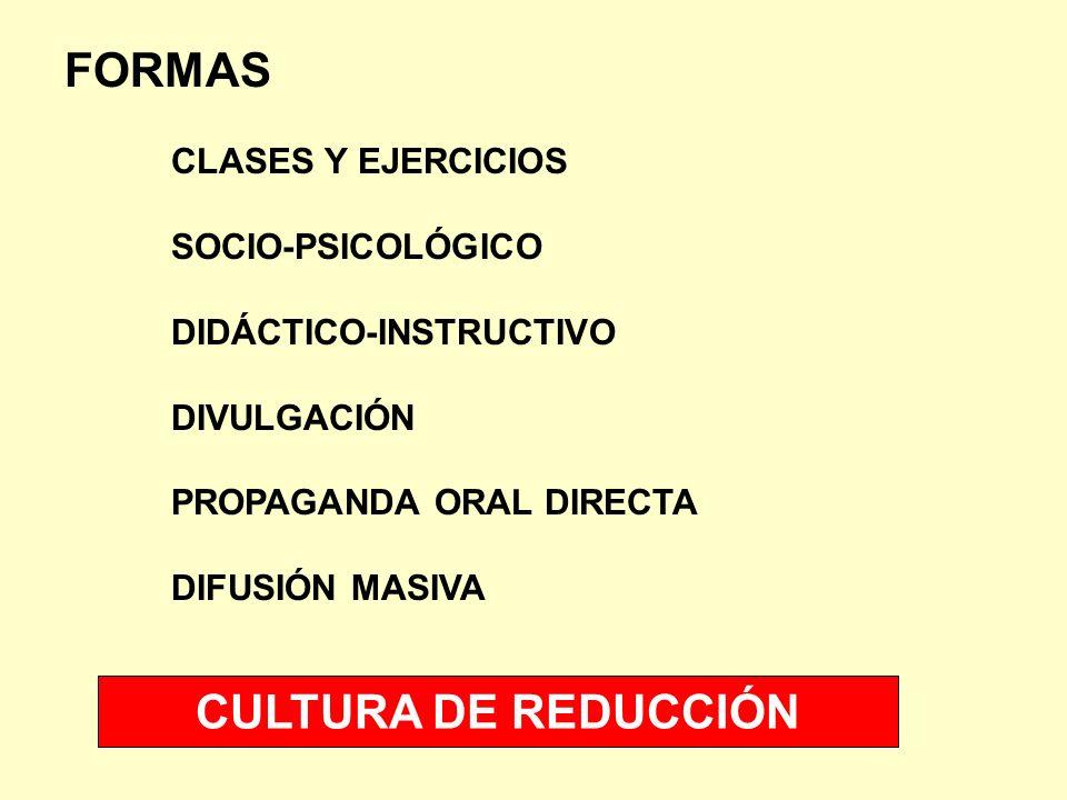 FORMAS CLASES Y EJERCICIOS SOCIO-PSICOLÓGICO DIDÁCTICO-INSTRUCTIVO DIVULGACIÓN PROPAGANDA ORAL DIRECTA DIFUSIÓN MASIVA CULTURA DE REDUCCIÓN