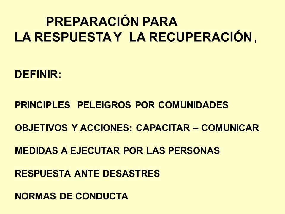 PREPARACIÓN PARA LA RESPUESTA Y LA RECUPERACIÓN, DEFINIR: PRINCIPLES PELEIGROS POR COMUNIDADES OBJETIVOS Y ACCIONES: CAPACITAR – COMUNICAR MEDIDAS A E