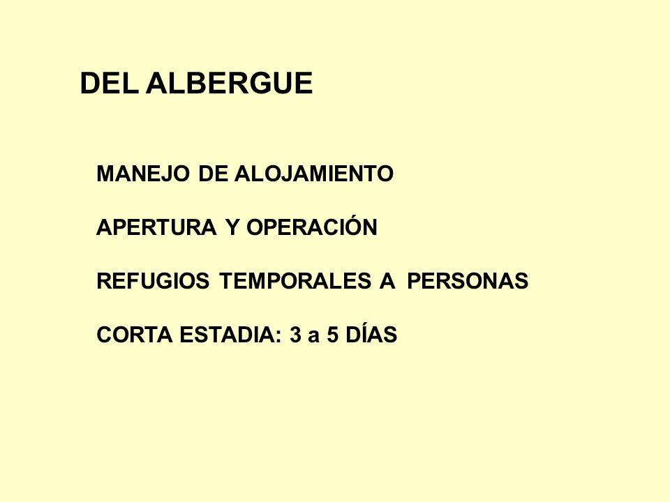 DEL ALBERGUE MANEJO DE ALOJAMIENTO APERTURA Y OPERACIÓN REFUGIOS TEMPORALES A PERSONAS CORTA ESTADIA: 3 a 5 DÍAS