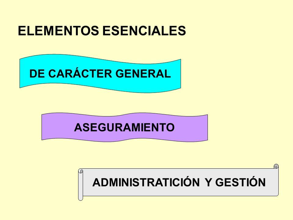 ELEMENTOS ESENCIALES DE CARÁCTER GENERAL ASEGURAMIENTO ADMINISTRATICIÓN Y GESTIÓN