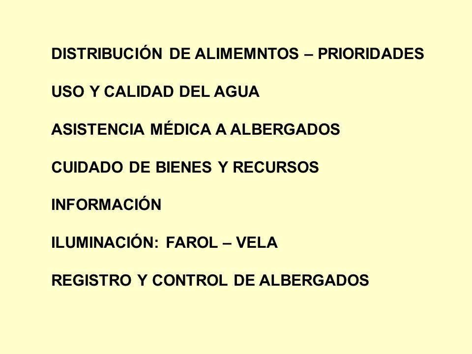 DISTRIBUCIÓN DE ALIMEMNTOS – PRIORIDADES USO Y CALIDAD DEL AGUA ASISTENCIA MÉDICA A ALBERGADOS CUIDADO DE BIENES Y RECURSOS INFORMACIÓN ILUMINACIÓN: F