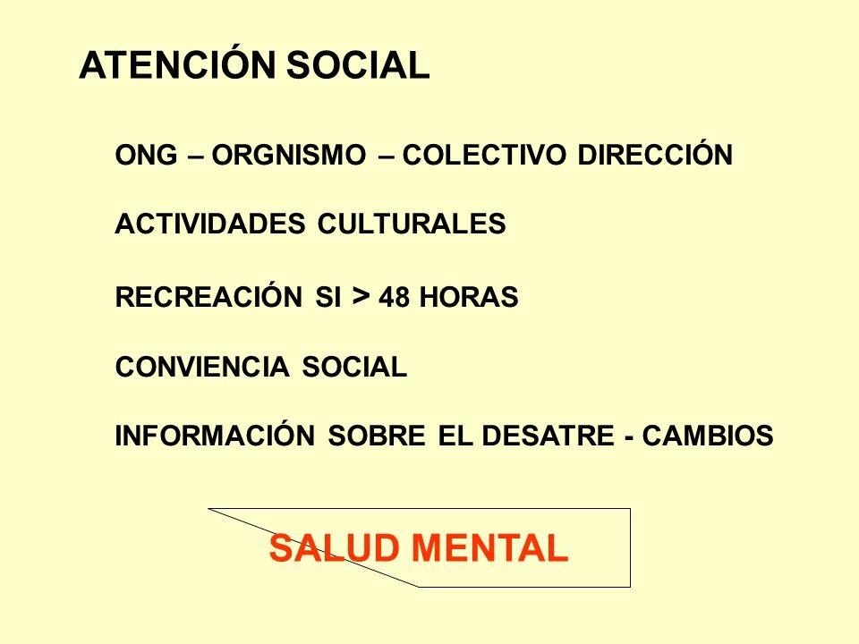 ATENCIÓN SOCIAL ONG – ORGNISMO – COLECTIVO DIRECCIÓN ACTIVIDADES CULTURALES RECREACIÓN SI > 48 HORAS CONVIENCIA SOCIAL INFORMACIÓN SOBRE EL DESATRE -