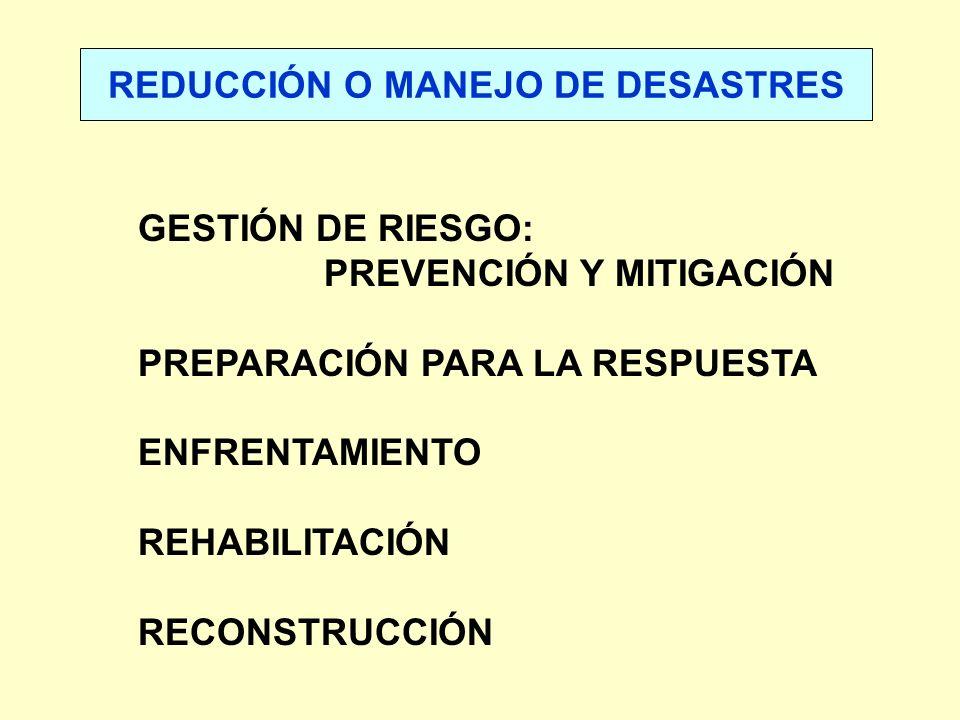 GESTIÓN DE RIESGO: PREVENCIÓN Y MITIGACIÓN PREPARACIÓN PARA LA RESPUESTA ENFRENTAMIENTO REHABILITACIÓN RECONSTRUCCIÓN REDUCCIÓN O MANEJO DE DESASTRES
