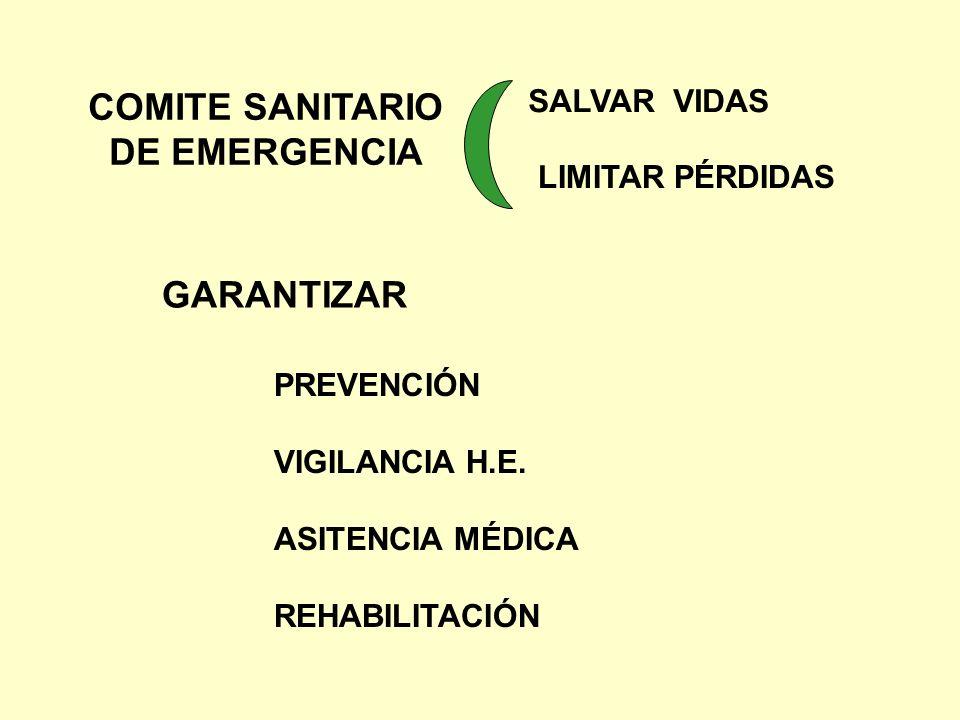 COMITE SANITARIO DE EMERGENCIA SALVAR VIDAS LIMITAR PÉRDIDAS GARANTIZAR PREVENCIÓN VIGILANCIA H.E. ASITENCIA MÉDICA REHABILITACIÓN