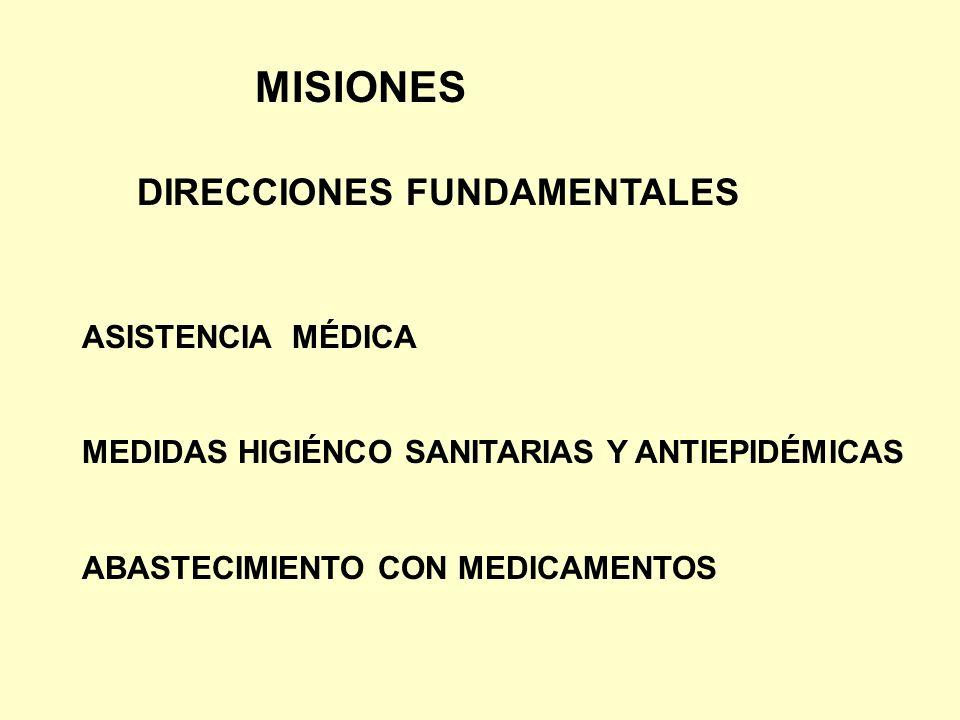 MISIONES DIRECCIONES FUNDAMENTALES ASISTENCIA MÉDICA MEDIDAS HIGIÉNCO SANITARIAS Y ANTIEPIDÉMICAS ABASTECIMIENTO CON MEDICAMENTOS
