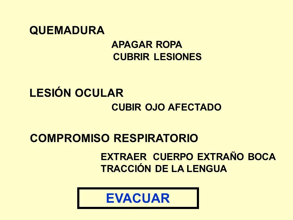QUEMADURA APAGAR ROPA CUBRIR LESIONES LESIÓN OCULAR CUBIR OJO AFECTADO COMPROMISO RESPIRATORIO EXTRAER CUERPO EXTRAÑO BOCA TRACCIÓN DE LA LENGUA EVACU