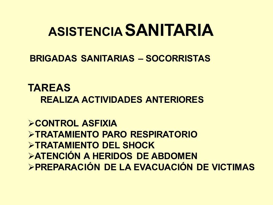 ASISTENCIA SANITARIA BRIGADAS SANITARIAS – SOCORRISTAS TAREAS REALIZA ACTIVIDADES ANTERIORES CONTROL ASFIXIA TRATAMIENTO PARO RESPIRATORIO TRATAMIENTO