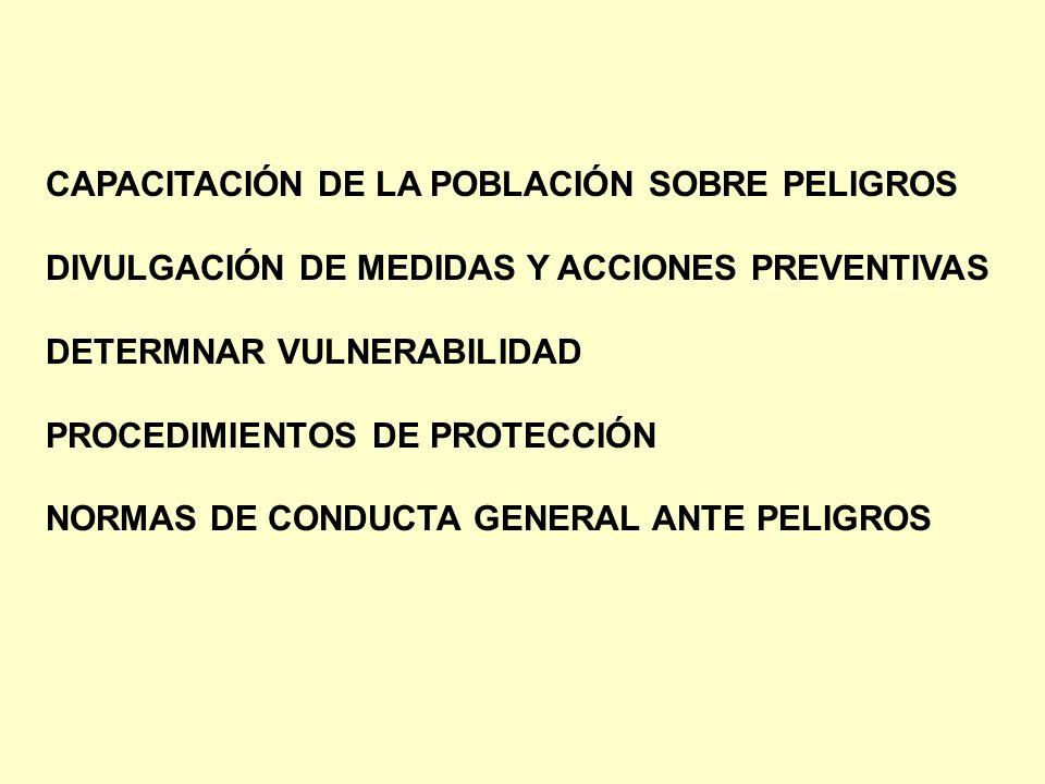 CAPACITACIÓN DE LA POBLACIÓN SOBRE PELIGROS DIVULGACIÓN DE MEDIDAS Y ACCIONES PREVENTIVAS DETERMNAR VULNERABILIDAD PROCEDIMIENTOS DE PROTECCIÓN NORMAS