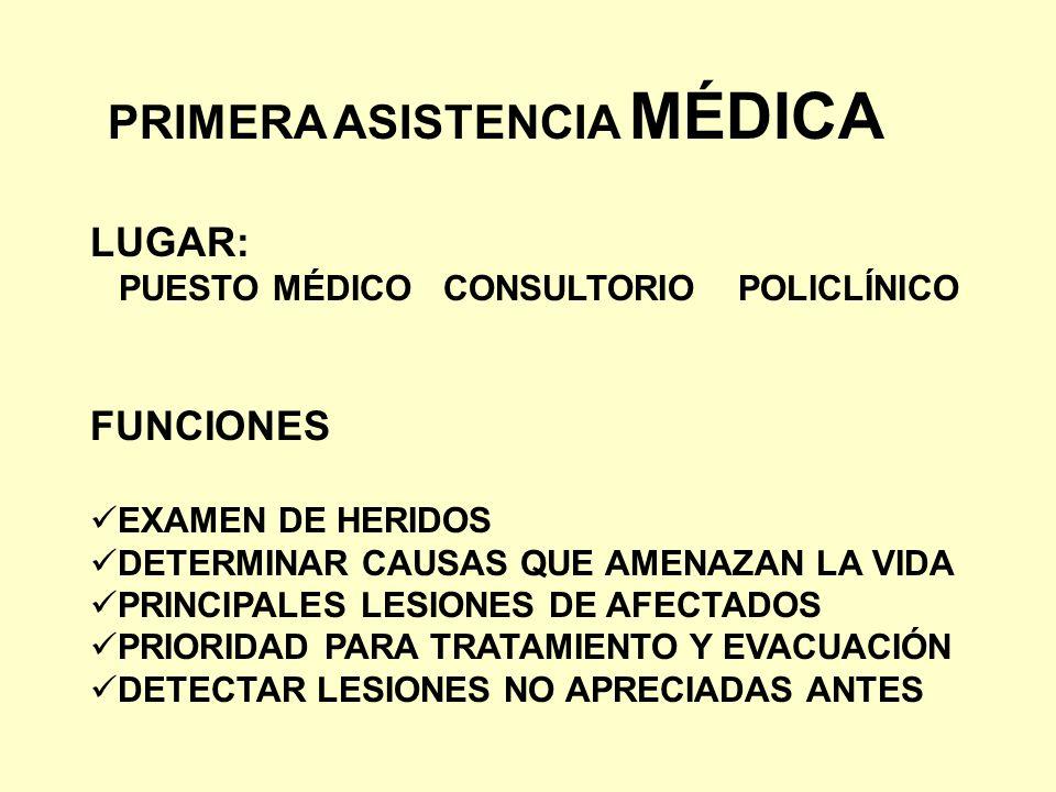 PRIMERA ASISTENCIA MÉDICA LUGAR: PUESTO MÉDICO CONSULTORIO POLICLÍNICO FUNCIONES EXAMEN DE HERIDOS DETERMINAR CAUSAS QUE AMENAZAN LA VIDA PRINCIPALES