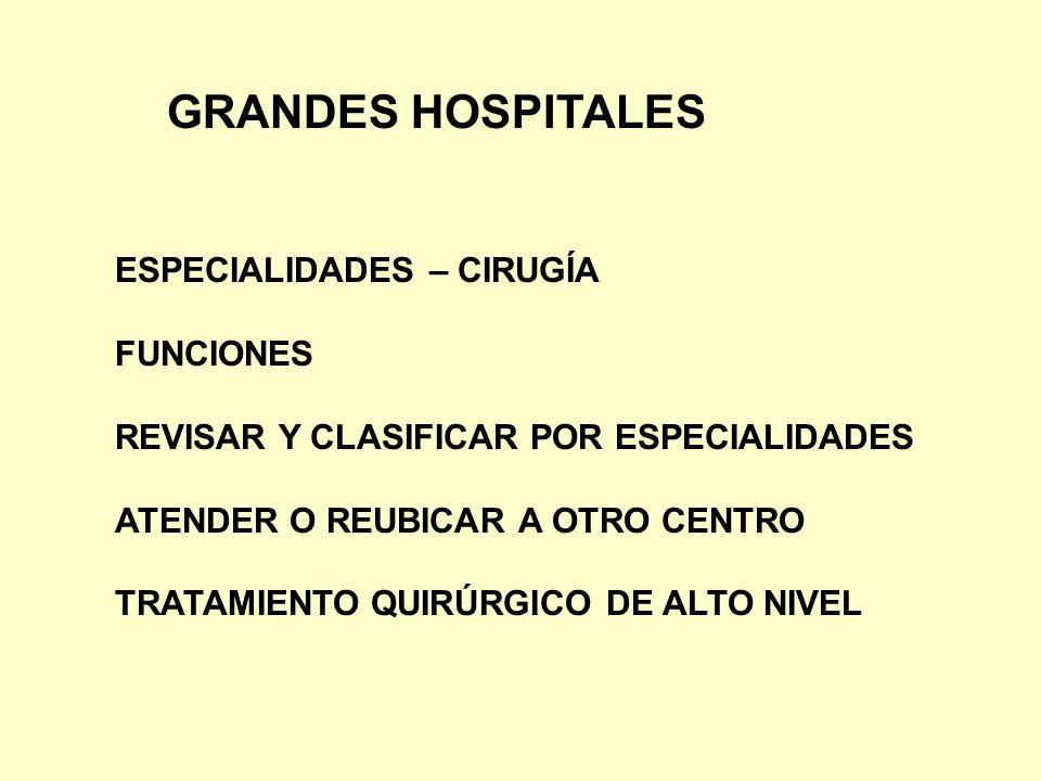 GRANDES HOSPITALES ESPECIALIDADES – CIRUGÍA FUNCIONES REVISAR Y CLASIFICAR POR ESPECIALIDADES ATENDER O REUBICAR A OTRO CENTRO TRATAMIENTO QUIRÚRGICO