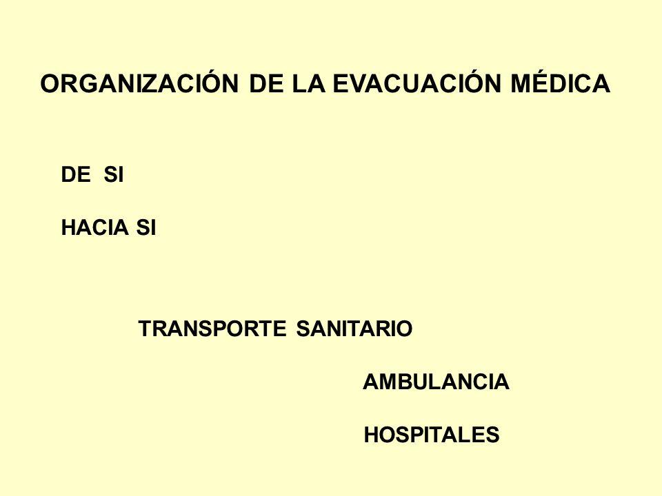 ORGANIZACIÓN DE LA EVACUACIÓN MÉDICA DE SI HACIA SI TRANSPORTE SANITARIO AMBULANCIA HOSPITALES