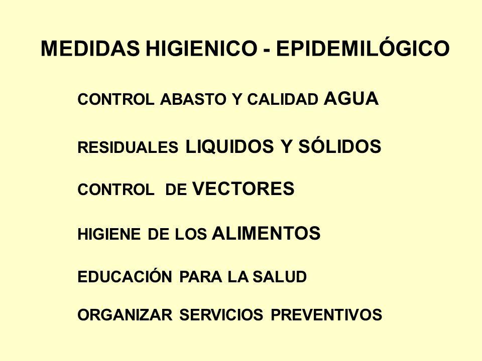MEDIDAS HIGIENICO - EPIDEMILÓGICO CONTROL ABASTO Y CALIDAD AGUA RESIDUALES LIQUIDOS Y SÓLIDOS CONTROL DE VECTORES HIGIENE DE LOS ALIMENTOS EDUCACIÓN P