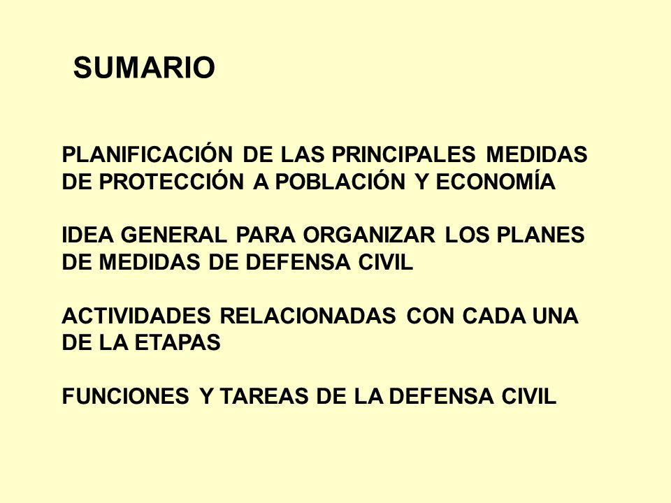 SUMARIO PLANIFICACIÓN DE LAS PRINCIPALES MEDIDAS DE PROTECCIÓN A POBLACIÓN Y ECONOMÍA IDEA GENERAL PARA ORGANIZAR LOS PLANES DE MEDIDAS DE DEFENSA CIV