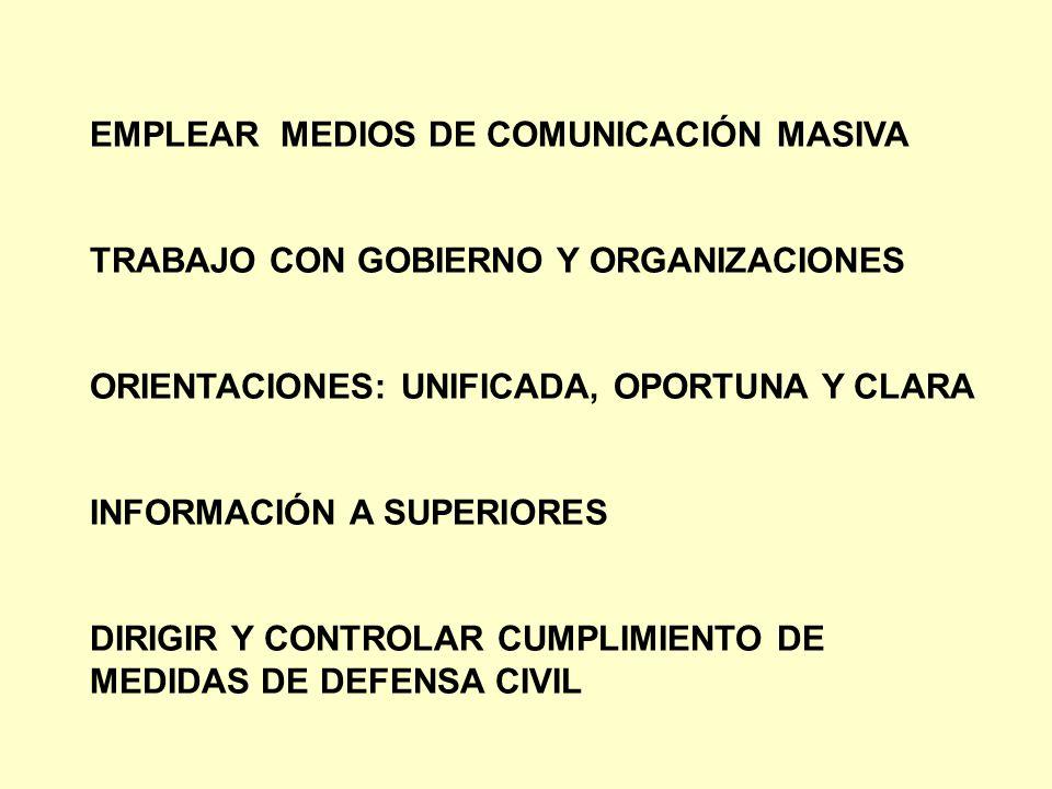 EMPLEAR MEDIOS DE COMUNICACIÓN MASIVA TRABAJO CON GOBIERNO Y ORGANIZACIONES ORIENTACIONES: UNIFICADA, OPORTUNA Y CLARA INFORMACIÓN A SUPERIORES DIRIGI