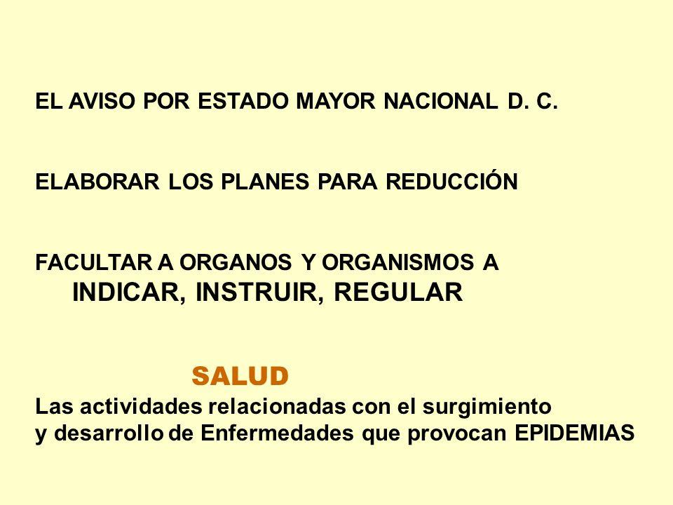 EL AVISO POR ESTADO MAYOR NACIONAL D. C. ELABORAR LOS PLANES PARA REDUCCIÓN FACULTAR A ORGANOS Y ORGANISMOS A INDICAR, INSTRUIR, REGULAR SALUD Las act