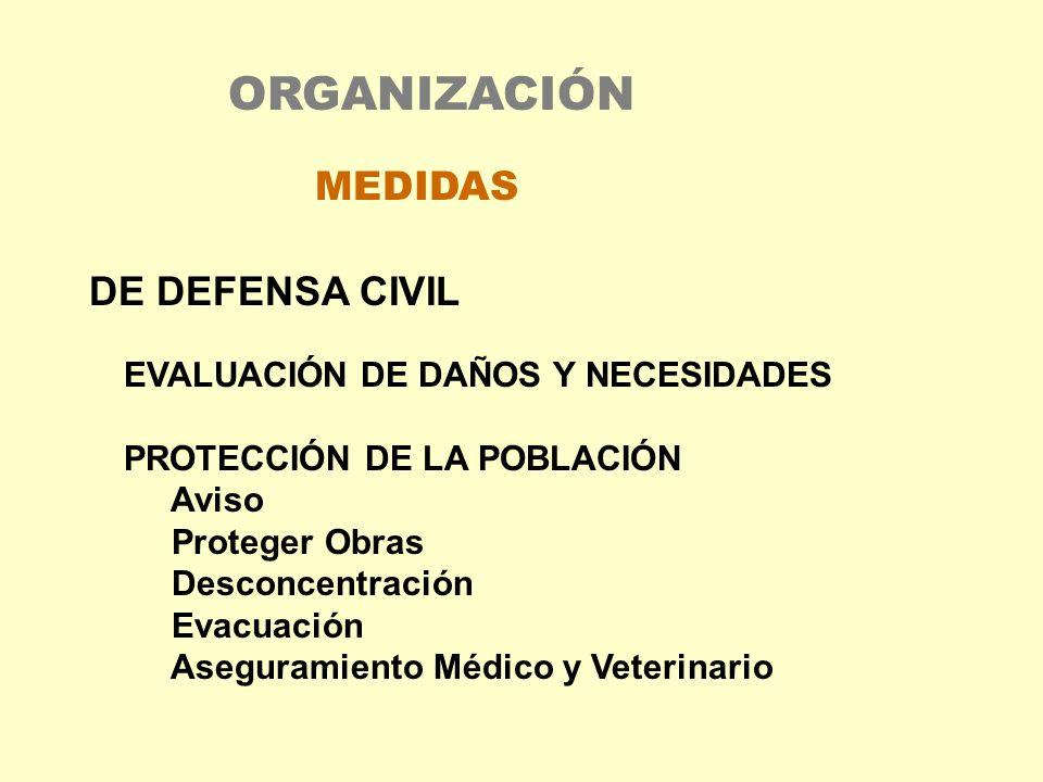 DE DEFENSA CIVIL EVALUACIÓN DE DAÑOS Y NECESIDADES PROTECCIÓN DE LA POBLACIÓN Aviso Proteger Obras Desconcentración Evacuación Aseguramiento Médico y