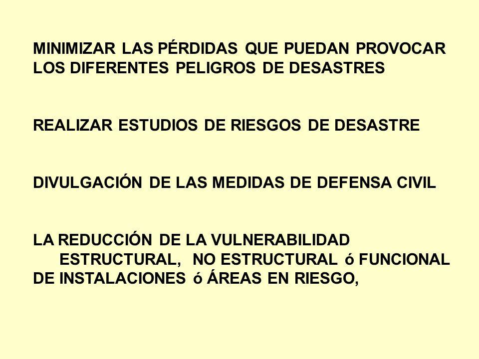 MINIMIZAR LAS PÉRDIDAS QUE PUEDAN PROVOCAR LOS DIFERENTES PELIGROS DE DESASTRES REALIZAR ESTUDIOS DE RIESGOS DE DESASTRE DIVULGACIÓN DE LAS MEDIDAS DE