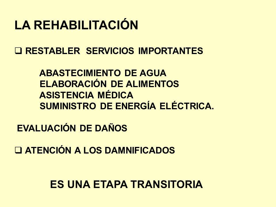 LA REHABILITACIÓN RESTABLER SERVICIOS IMPORTANTES ABASTECIMIENTO DE AGUA ELABORACIÓN DE ALIMENTOS ASISTENCIA MÉDICA SUMINISTRO DE ENERGÍA ELÉCTRICA. E