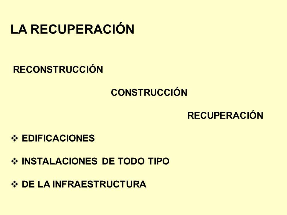 LA RECUPERACIÓN RECONSTRUCCIÓN CONSTRUCCIÓN RECUPERACIÓN EDIFICACIONES INSTALACIONES DE TODO TIPO DE LA INFRAESTRUCTURA