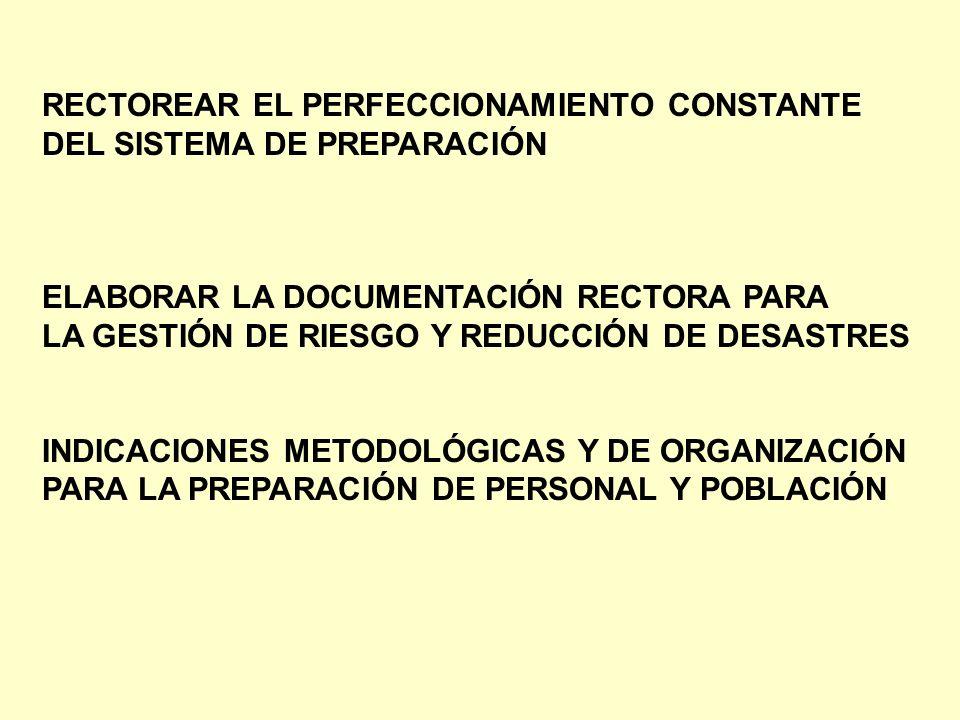 RECTOREAR EL PERFECCIONAMIENTO CONSTANTE DEL SISTEMA DE PREPARACIÓN ELABORAR LA DOCUMENTACIÓN RECTORA PARA LA GESTIÓN DE RIESGO Y REDUCCIÓN DE DESASTR