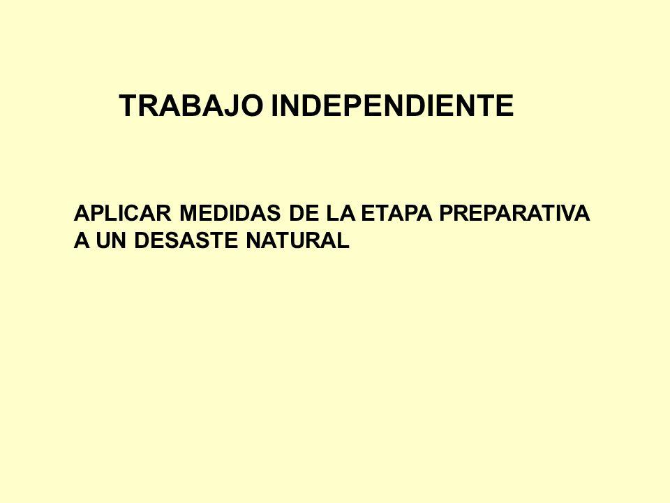 TRABAJO INDEPENDIENTE APLICAR MEDIDAS DE LA ETAPA PREPARATIVA A UN DESASTE NATURAL