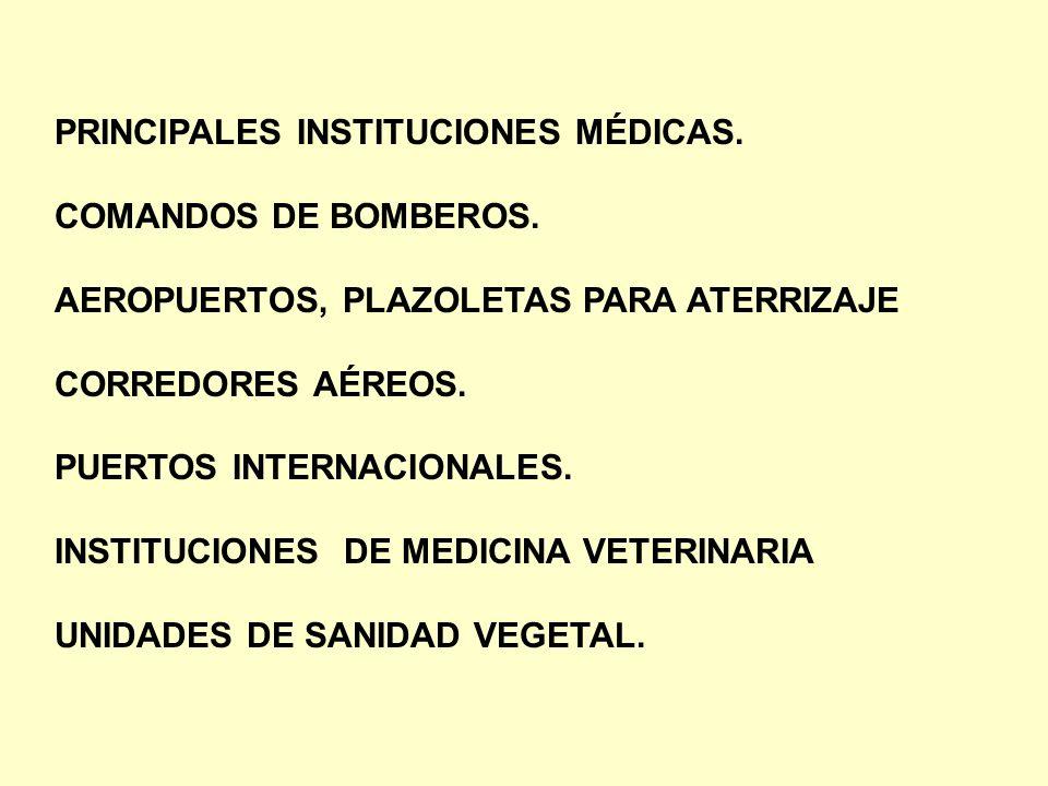 PRINCIPALES INSTITUCIONES MÉDICAS. COMANDOS DE BOMBEROS. AEROPUERTOS, PLAZOLETAS PARA ATERRIZAJE CORREDORES AÉREOS. PUERTOS INTERNACIONALES. INSTITUCI