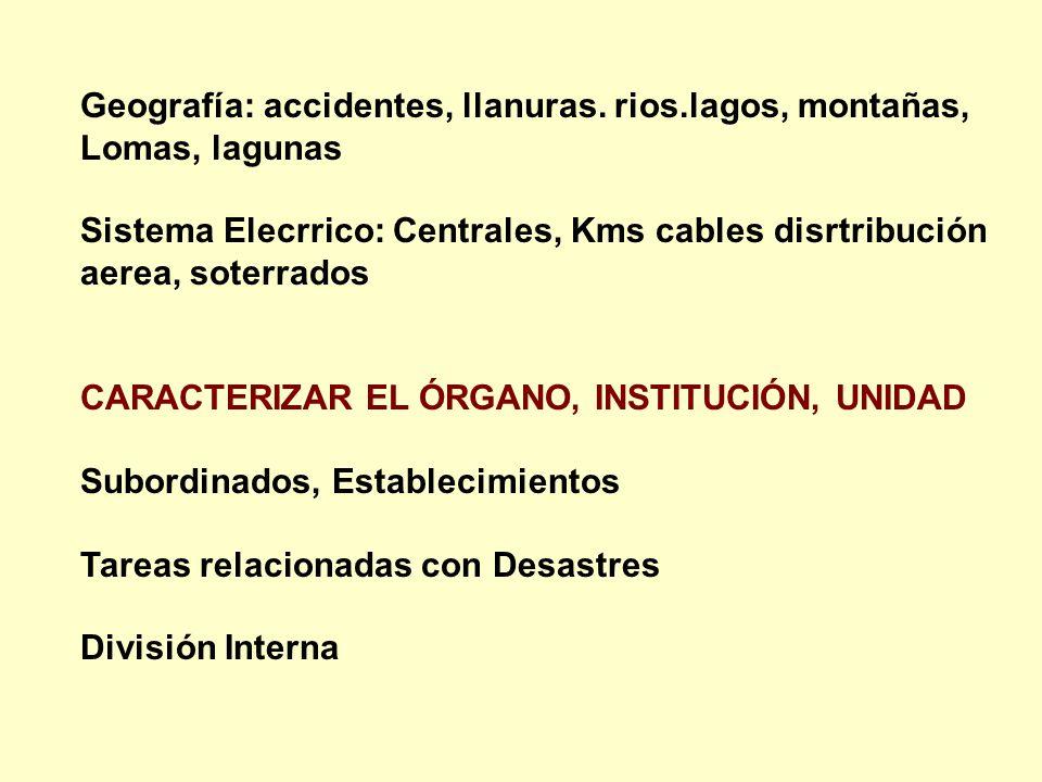 Geografía: accidentes, llanuras. rios.lagos, montañas, Lomas, lagunas Sistema Elecrrico: Centrales, Kms cables disrtribución aerea, soterrados CARACTE