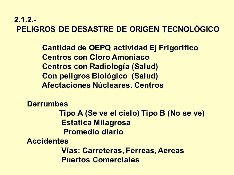 2.1.2.- PELIGROS DE DESASTRE DE ORIGEN TECNOLÓGICO Cantidad de OEPQ actividad Ej Frigorifico Centros con Cloro Amoniaco Centros con Radiología (Salud)