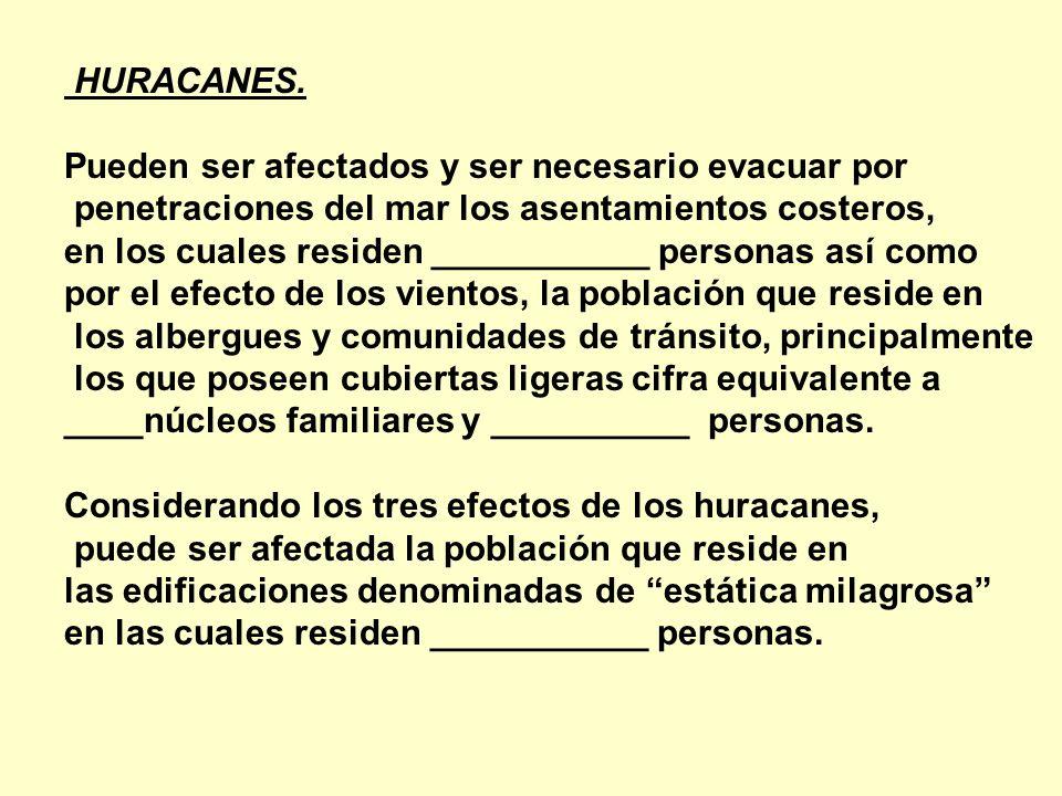 HURACANES. Pueden ser afectados y ser necesario evacuar por penetraciones del mar los asentamientos costeros, en los cuales residen ___________ person
