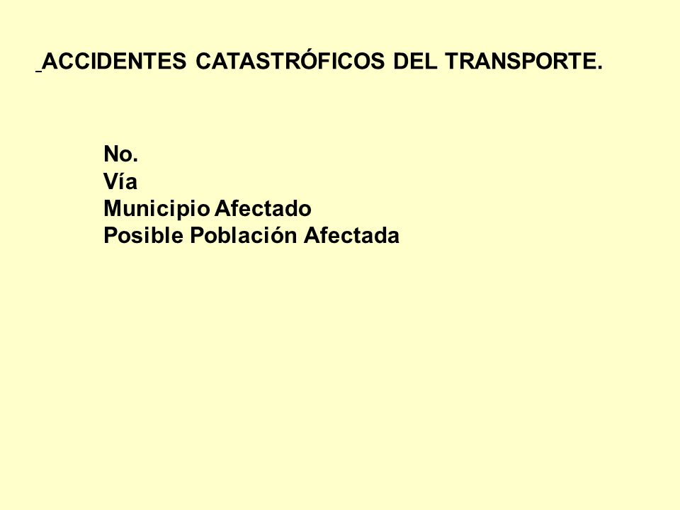 No. Vía Municipio Afectado Posible Población Afectada ACCIDENTES CATASTRÓFICOS DEL TRANSPORTE.