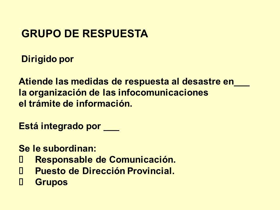 GRUPO DE RESPUESTA Dirigido por Atiende las medidas de respuesta al desastre en___ la organización de las infocomunicaciones el trámite de información