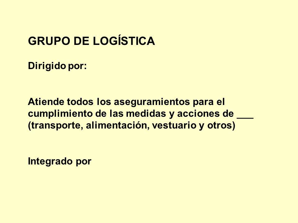 GRUPO DE LOGÍSTICA Dirigido por: Atiende todos los aseguramientos para el cumplimiento de las medidas y acciones de ___ (transporte, alimentación, ves