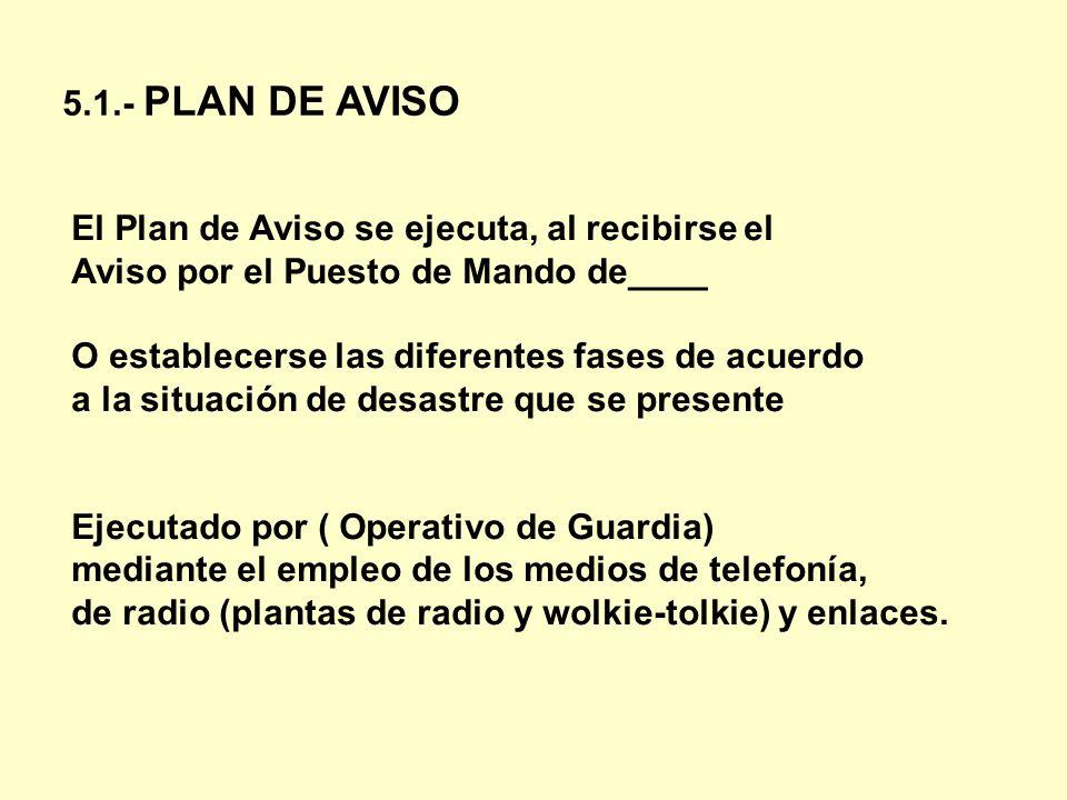 5.1.- PLAN DE AVISO El Plan de Aviso se ejecuta, al recibirse el Aviso por el Puesto de Mando de____ O establecerse las diferentes fases de acuerdo a