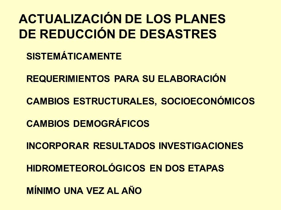 ACTUALIZACIÓN DE LOS PLANES DE REDUCCIÓN DE DESASTRES SISTEMÁTICAMENTE REQUERIMIENTOS PARA SU ELABORACIÓN CAMBIOS ESTRUCTURALES, SOCIOECONÓMICOS CAMBI