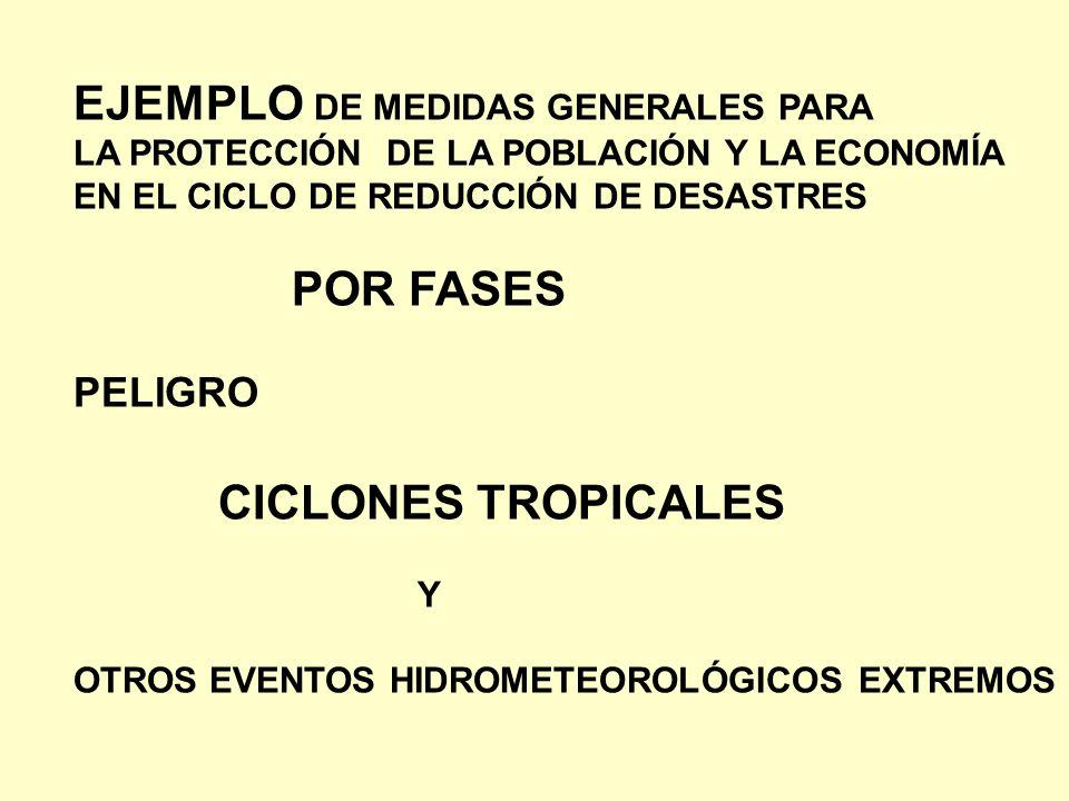 EJEMPLO DE MEDIDAS GENERALES PARA LA PROTECCIÓN DE LA POBLACIÓN Y LA ECONOMÍA EN EL CICLO DE REDUCCIÓN DE DESASTRES POR FASES PELIGRO CICLONES TROPICA