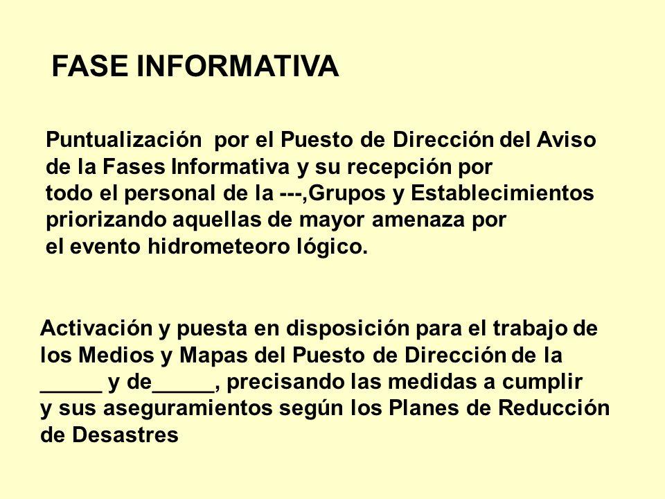 Puntualización por el Puesto de Dirección del Aviso de la Fases Informativa y su recepción por todo el personal de la ---,Grupos y Establecimientos pr