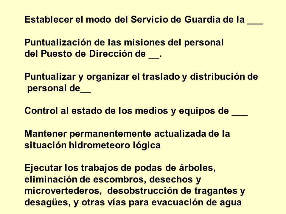 Establecer el modo del Servicio de Guardia de la ___ Puntualización de las misiones del personal del Puesto de Dirección de __. Puntualizar y organiza