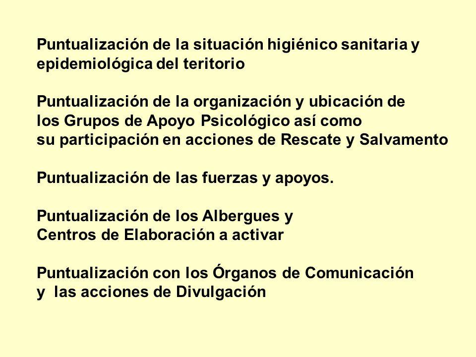 Puntualización de la situación higiénico sanitaria y epidemiológica del teritorio Puntualización de la organización y ubicación de los Grupos de Apoyo