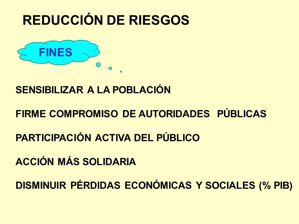 REDUCCIÓN DE RIESGOS FINES SENSIBILIZAR A LA POBLACIÓN FIRME COMPROMISO DE AUTORIDADES PÚBLICAS PARTICIPACIÓN ACTIVA DEL PÚBLICO ACCIÓN MÁS SOLIDARIA