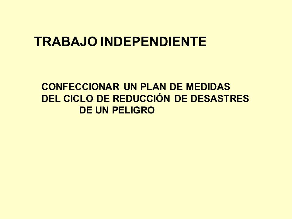 TRABAJO INDEPENDIENTE CONFECCIONAR UN PLAN DE MEDIDAS DEL CICLO DE REDUCCIÓN DE DESASTRES DE UN PELIGRO