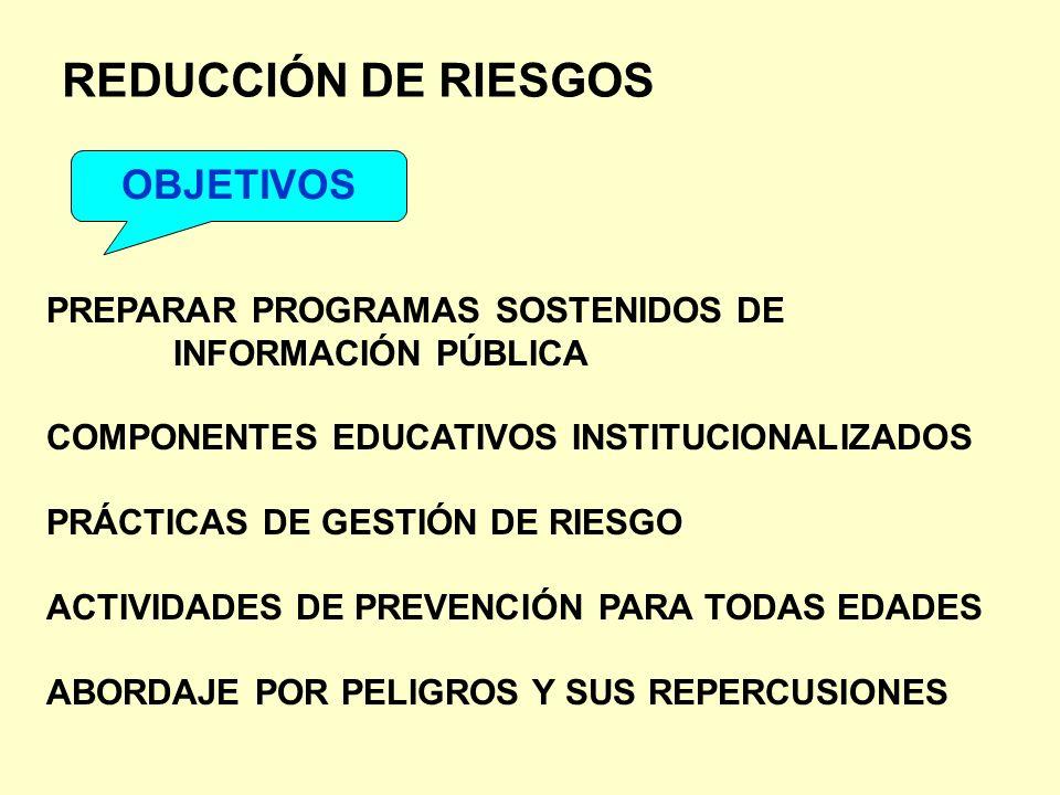 REDUCCIÓN DE RIESGOS OBJETIVOS PREPARAR PROGRAMAS SOSTENIDOS DE INFORMACIÓN PÚBLICA COMPONENTES EDUCATIVOS INSTITUCIONALIZADOS PRÁCTICAS DE GESTIÓN DE
