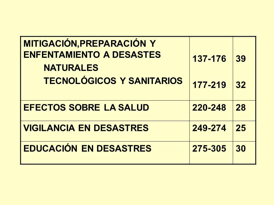 MITIGACIÓN,PREPARACIÓN Y ENFENTAMIENTO A DESASTES NATURALES TECNOLÓGICOS Y SANITARIOS 137-176 177-219 39 32 EFECTOS SOBRE LA SALUD220-24828 VIGILANCIA
