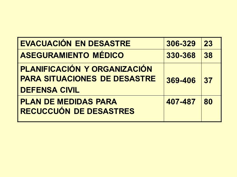 EVACUACIÓN EN DESASTRE306-32923 ASEGURAMIENTO MÉDICO330-36838 PLANIFICACIÓN Y ORGANIZACIÓN PARA SITUACIONES DE DESASTRE DEFENSA CIVIL 369-40637 PLAN D