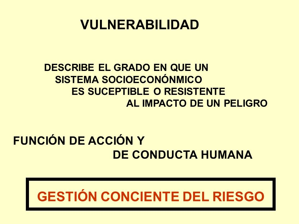 VULNERABILIDAD FUNCIÓN DE ACCIÓN Y DE CONDUCTA HUMANA DESCRIBE EL GRADO EN QUE UN SISTEMA SOCIOECONÓNMICO ES SUCEPTIBLE O RESISTENTE AL IMPACTO DE UN