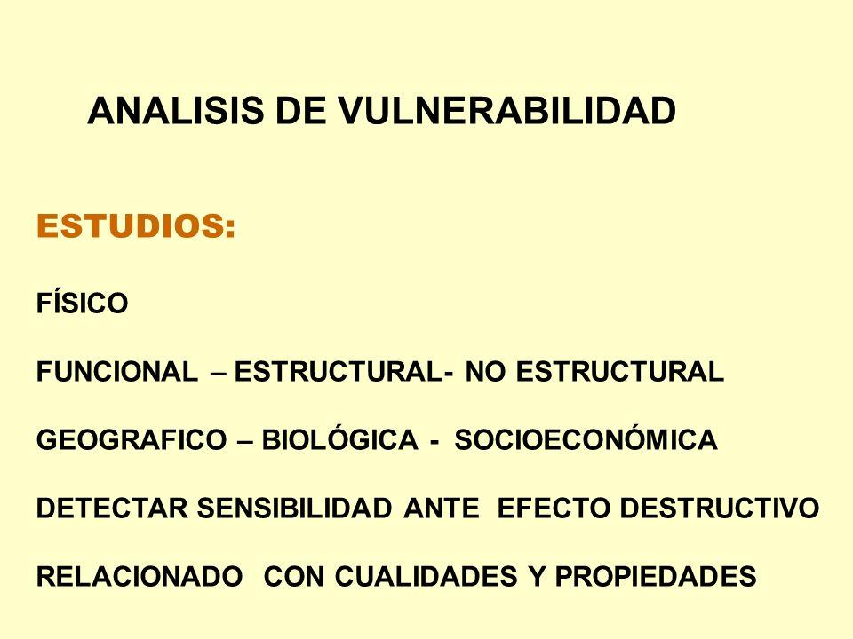 ANALISIS DE VULNERABILIDAD ESTUDIOS: FÍSICO FUNCIONAL – ESTRUCTURAL- NO ESTRUCTURAL GEOGRAFICO – BIOLÓGICA - SOCIOECONÓMICA DETECTAR SENSIBILIDAD ANTE