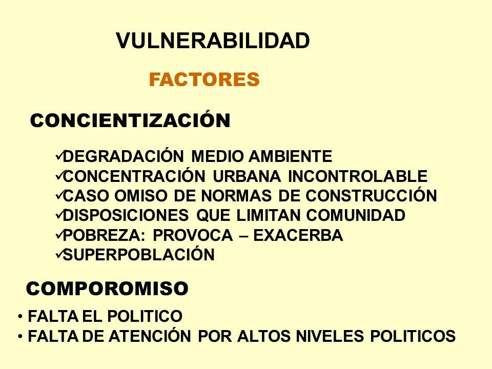 VULNERABILIDAD FACTORES CONCIENTIZACIÓN DEGRADACIÓN MEDIO AMBIENTE CONCENTRACIÓN URBANA INCONTROLABLE CASO OMISO DE NORMAS DE CONSTRUCCIÓN DISPOSICION