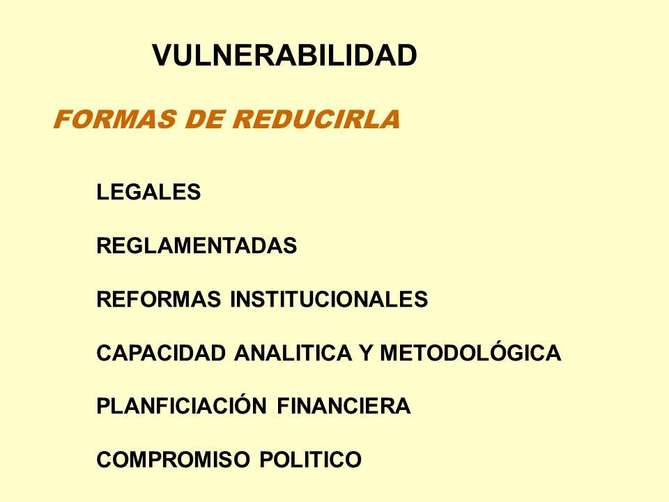 VULNERABILIDAD LEGALES REGLAMENTADAS REFORMAS INSTITUCIONALES CAPACIDAD ANALITICA Y METODOLÓGICA PLANFICIACIÓN FINANCIERA COMPROMISO POLITICO FORMAS D