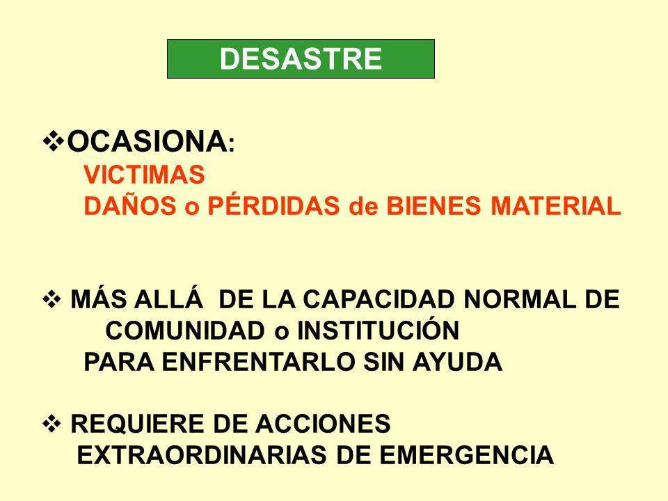 DESASTRE OCASIONA : VICTIMAS DAÑOS o PÉRDIDAS de BIENES MATERIAL MÁS ALLÁ DE LA CAPACIDAD NORMAL DE COMUNIDAD o INSTITUCIÓN PARA ENFRENTARLO SIN AYUDA