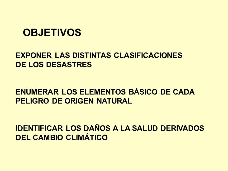 OBJETIVOS EXPONER LAS DISTINTAS CLASIFICACIONES DE LOS DESASTRES ENUMERAR LOS ELEMENTOS BÁSICO DE CADA PELIGRO DE ORIGEN NATURAL IDENTIFICAR LOS DAÑOS