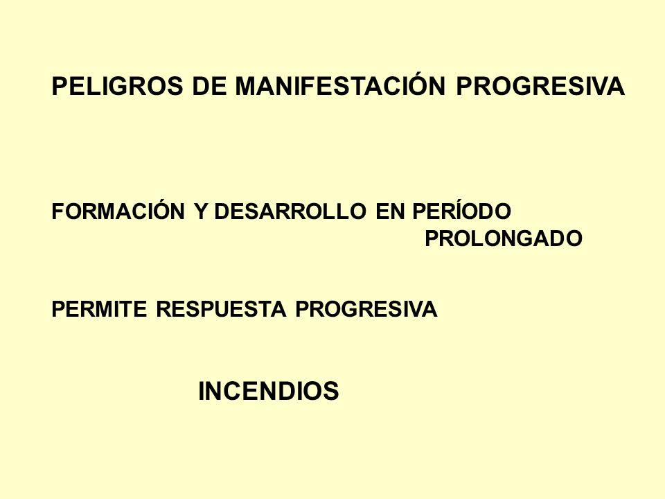 PELIGROS DE MANIFESTACIÓN PROGRESIVA FORMACIÓN Y DESARROLLO EN PERÍODO PROLONGADO PERMITE RESPUESTA PROGRESIVA INCENDIOS